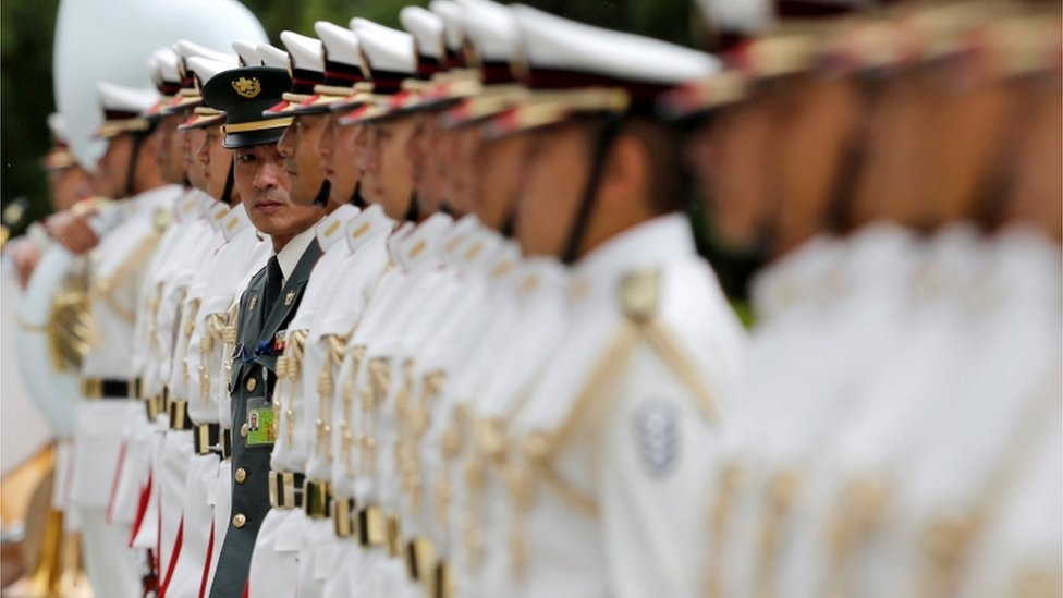 Line of soldiers in Japan's Self-Defence force at a ceremony for Prime Minister Shinzo Abe at the Defense Ministry in Tokyo, Japan, September 11,