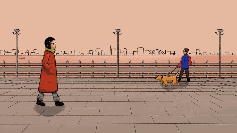 Illustration of a woman walking past someone walking a dog