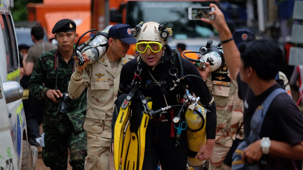 British cave-diver John Volanthen walks out from Tham Luang Nang Non cave in full kit, 28 June