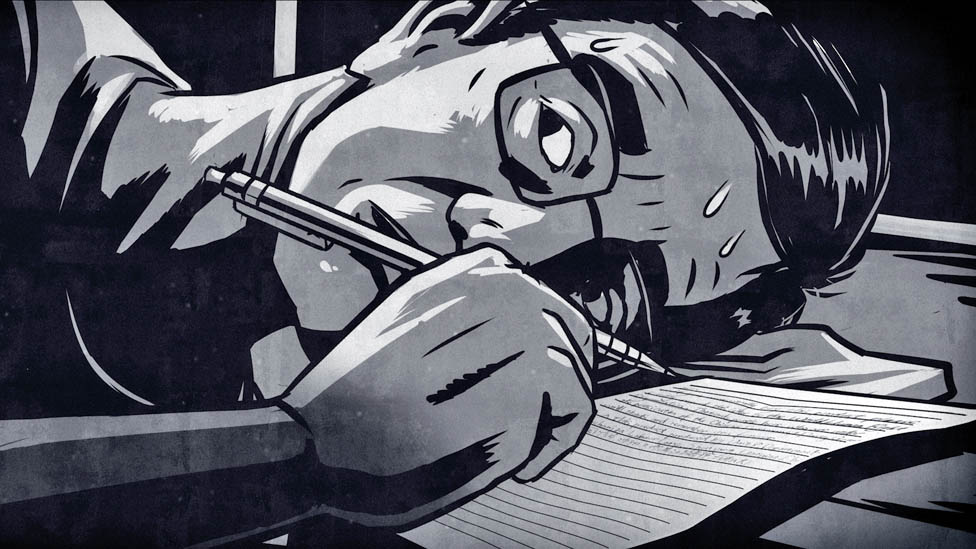 Illustration of Sun Yi writing a letter in bed