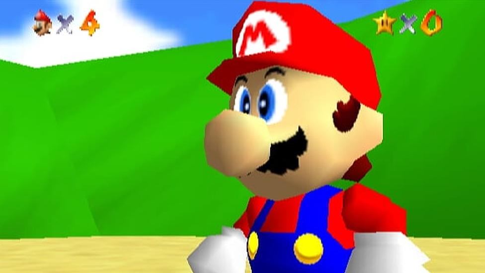 Mario as he appears in Super Mario 64