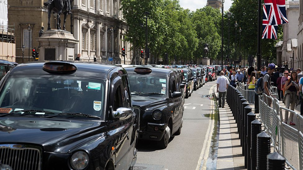 Taxis lined up in London during a protest