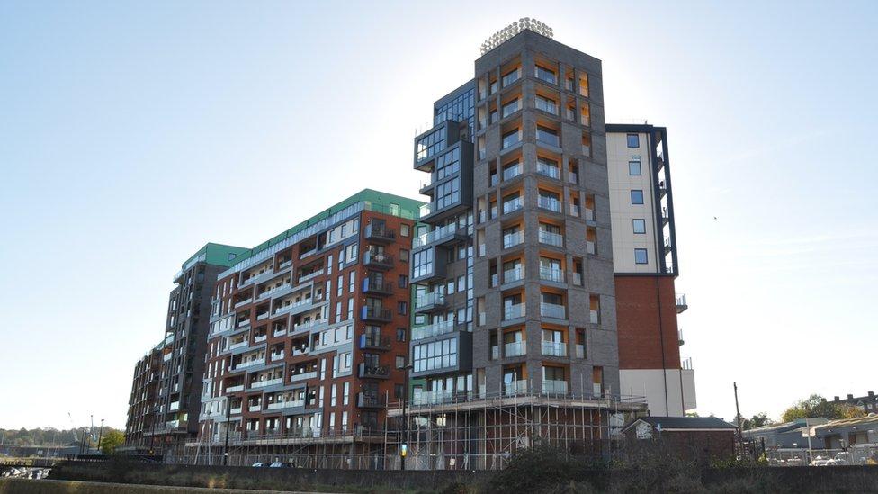 Flats on Ipswich waterfront