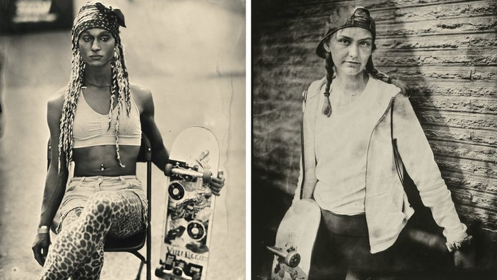 Composite of two portraits of skateboarders, Jasmine and Amelia