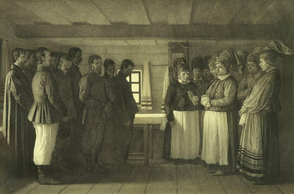 """Dujobores orando"", 1865. Artista: Vasili Vasilyevich Vereshchagin (1842-1904)."