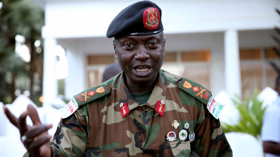 Army chief General Ousman Badjie is pictured as he arrives at the mediation meeting with the West African delegation on election crisis, in Banjul, Gambia, December 13, 2016.