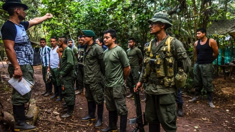 Farc rebels in the Yari plains during the group's conference, 22 Sep