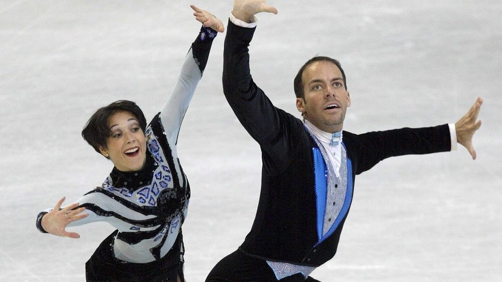 Sarah Abitbol and Stephane Bernadis perform their pairs free skating at the 2002 European Figure Skating Championships, in Lausanne on 16 January 2002