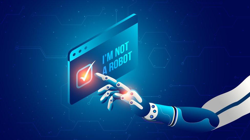 Ilustración de un dedo de robot pulsando un letrero que dice