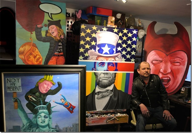 Michael Forbes and some of his artwork