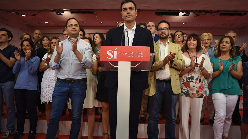 "PSOE leader Pedro Sanchez applauded after delivering speech following Spain""s general election. 26 June 2016"
