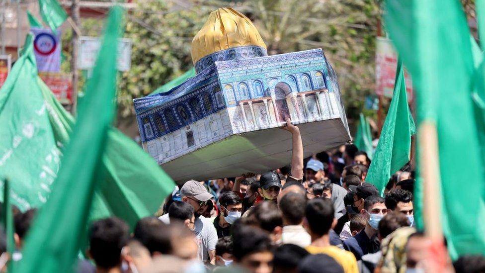 Una manifestación de partidarios de Hamás en Gaza, en defensa de su reclamo a la ciudad de Jerusalén