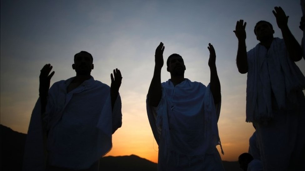 Muslim pilgrims join one of the Hajj rituals on Mount Arafat near Mecca (11 September 2016)