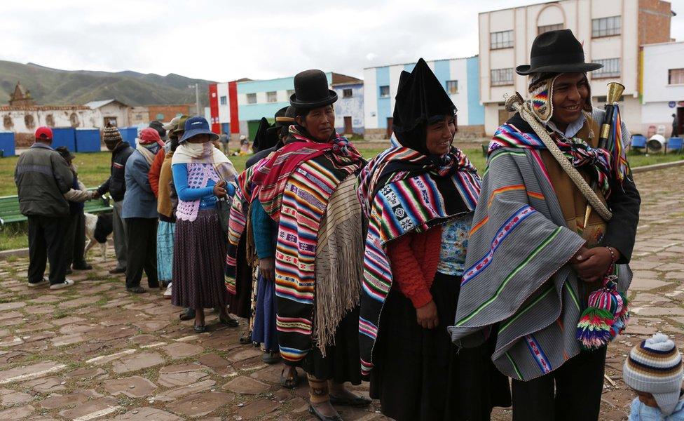Aymara voters in Jesus de Machaca, Bolivia, 21 February