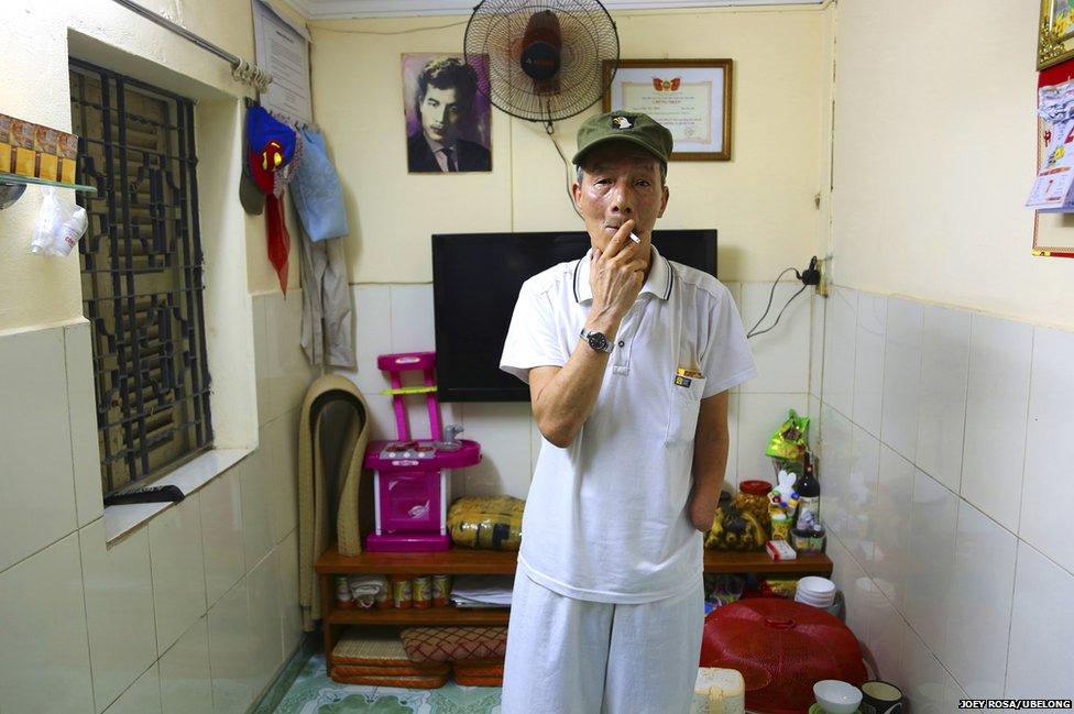 Tran Van Thinh, 71, as his home in Hanoi