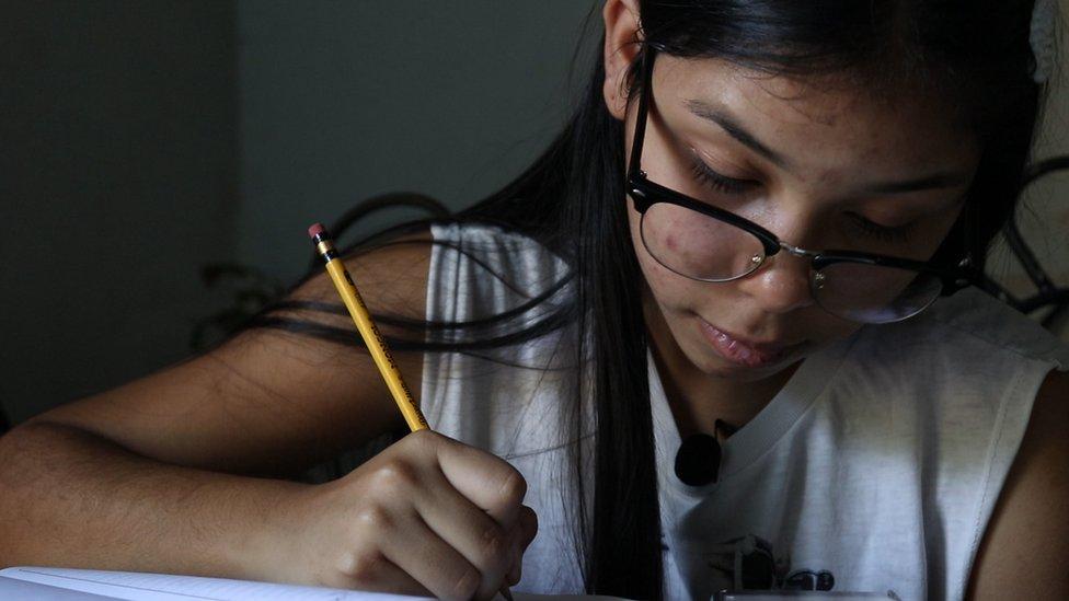 Valeria Torres doing her homework