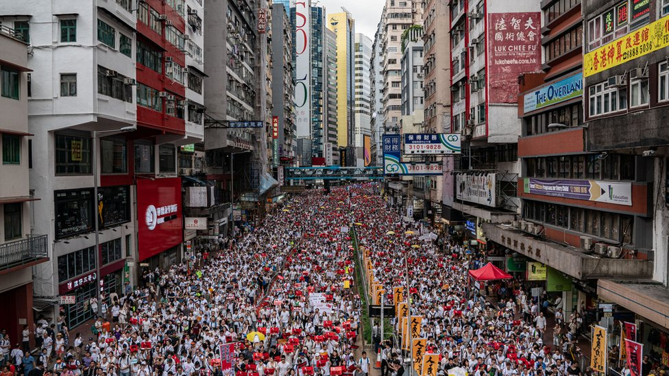 Protestors march in the streets in Hong Kong in June