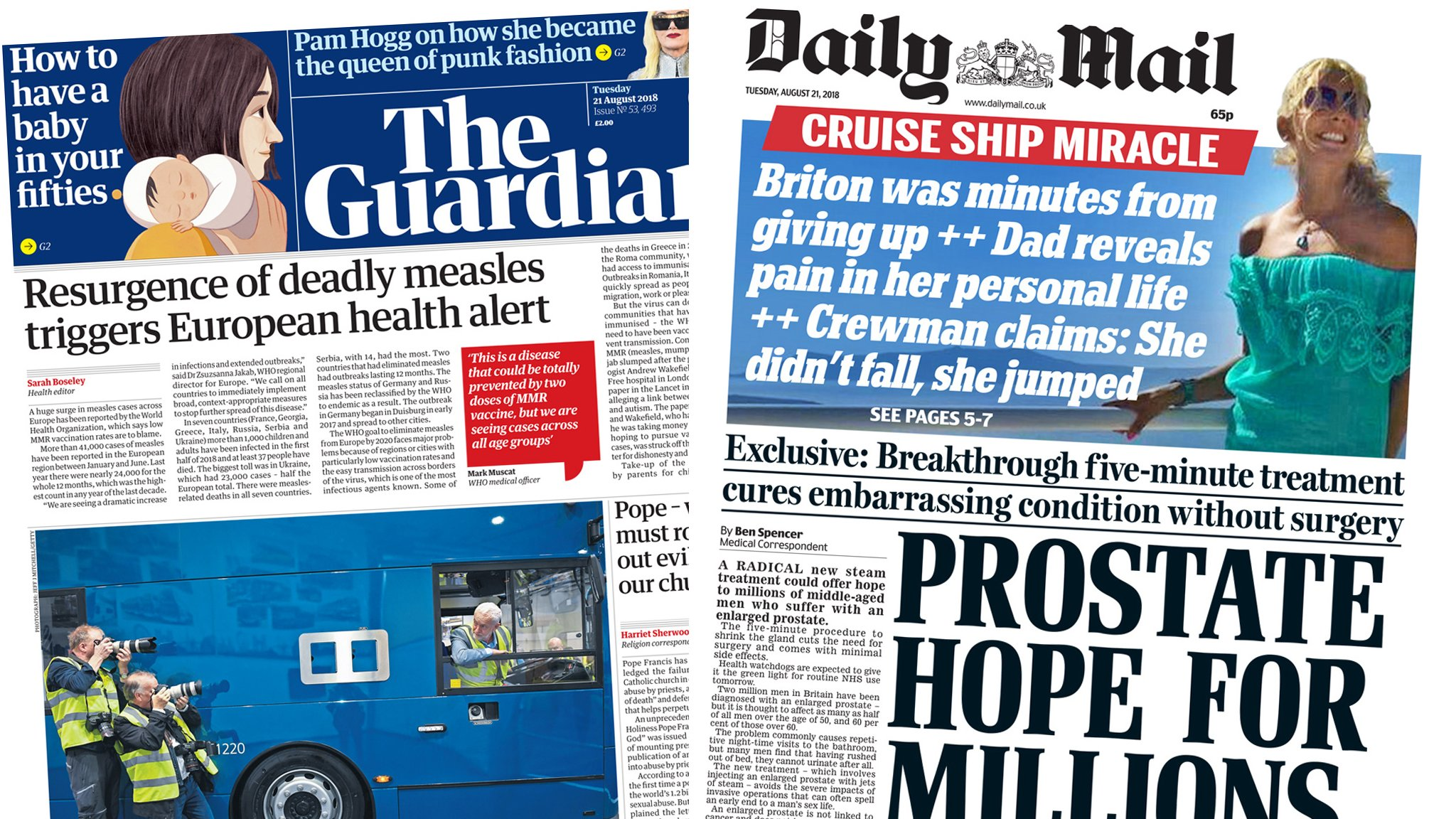 The Papers: 'Deadly measles' and prostate hope