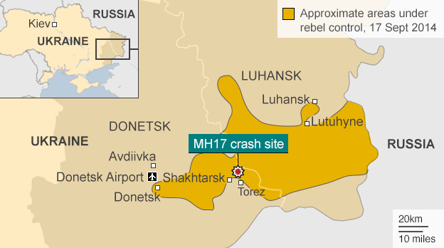 Map showing the crash site of flight MH17 and the areas of east Ukraine under rebel control