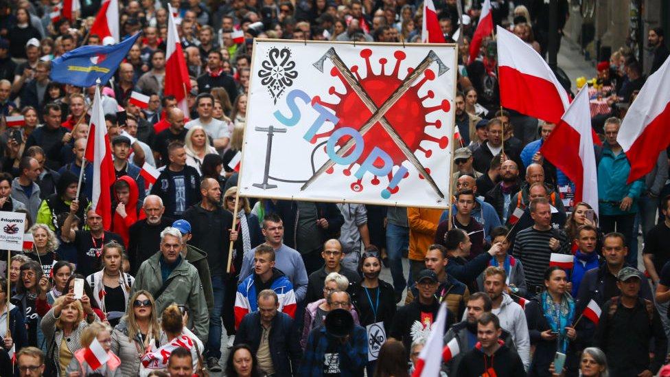 Protestas contra restricciones por el coronavirus en Polonia.