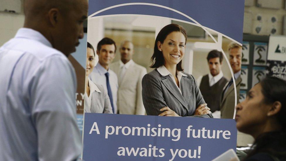 Recruitment poster at job fair