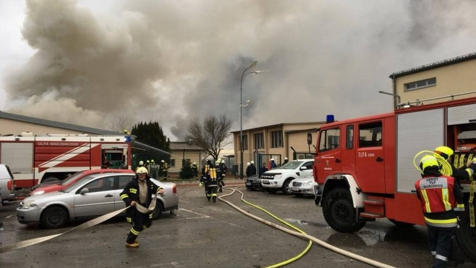 Firefighters tackle the blaze in Baumgarten, Austria. Photo: 12 December 2017