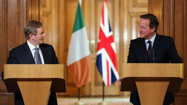 Irish Taoiseach Enda Kenny (left) and Prime Minister David Cameron at a press conference