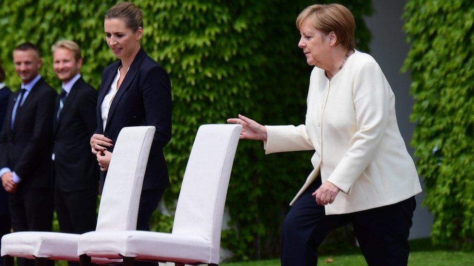 Angela Merkel con la primera ministra de Dinamarca, Mette Frederiksen el 11 de julio