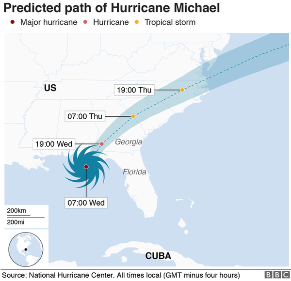 Map of hurricane's path