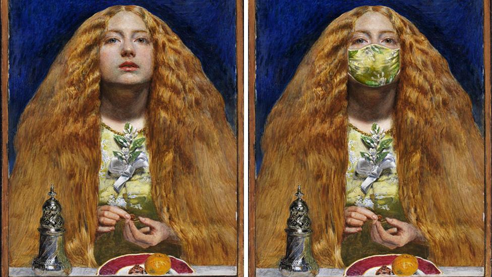 A modern update of pre-Raphaelite artist John Everett Millais' The Bridesmaid (1851).