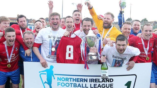 Ards celebrate winning promotion to the Irish Premiership