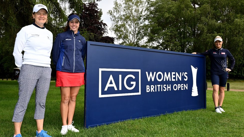 Catriona Matthew of Scotland, Georgia Hall of England and Charley Hull of England promote the Women's British Open