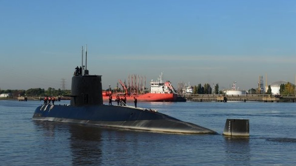 An undated handout photo made available by the Argentine Navy on 17 November 2017 shows the ARA San Juan submarine.