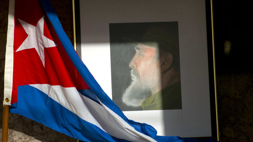 An image of Fidel Castro and a Cuban flag are displayed in honour of Castro the day after he died, inside the foreign ministry in Havana, Cuba, on 26 November 2016