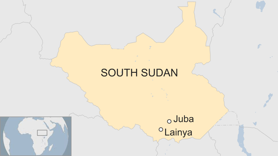 A map of South Sudan showing the capital Juba and the nearby town of Lainya, in Lainya County.