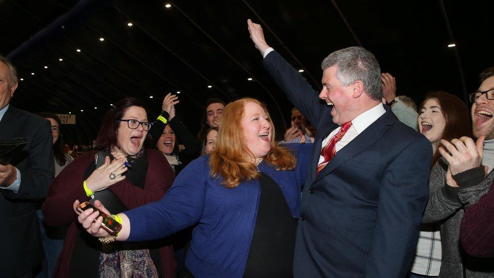 Alliance leader Naomi Long celebrates her success