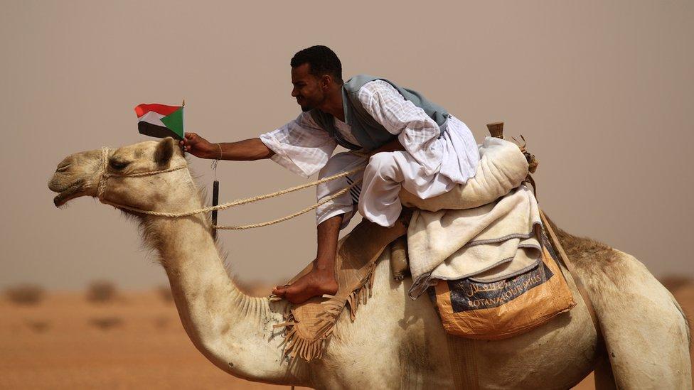 "A supporter of Mohamed Hamdan ""Hemeti"" Dagolo outside Khartoum, Sudan"