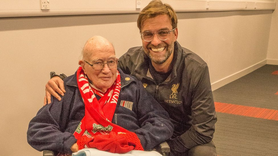 Liverpool fan Bernard Sheridan, 104, meets Anfield heroes