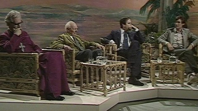 Right to left: Bishop of Southwark, Malcolm Muggeridge, John Cleese and Michael Palin debate Monty Python's Life Of Brian on Friday Night, Saturday Morning