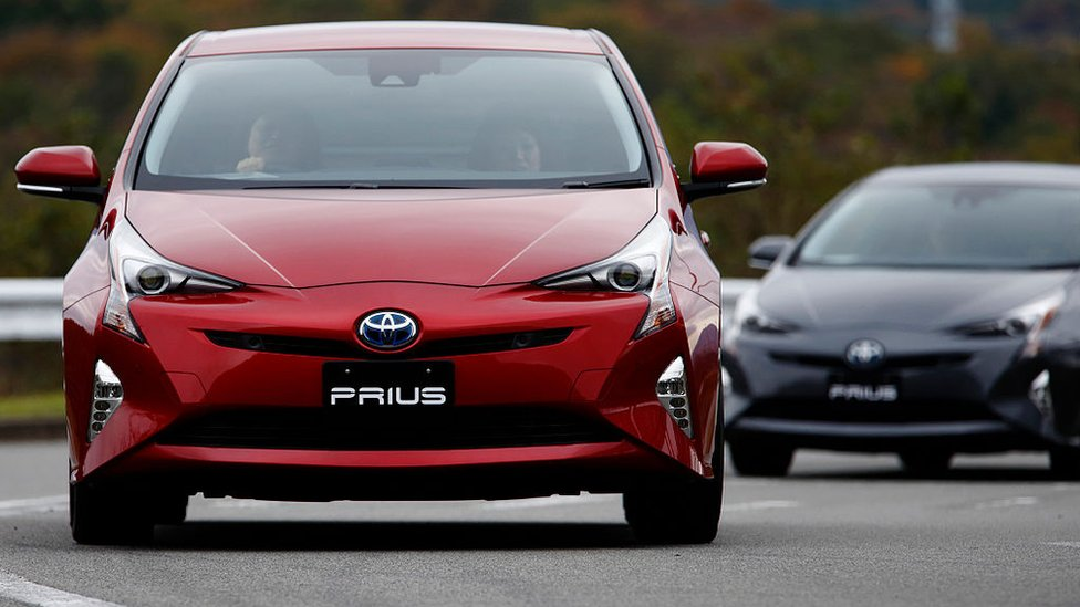 Toyota Prius being test driven in Japan