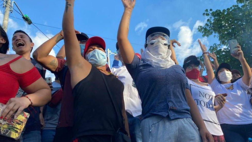 Manifestantes en Cali.