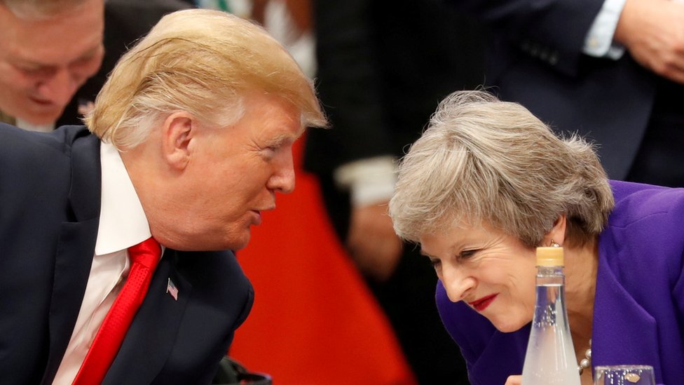 Donald Trump speaking to Theresa May in November 2018