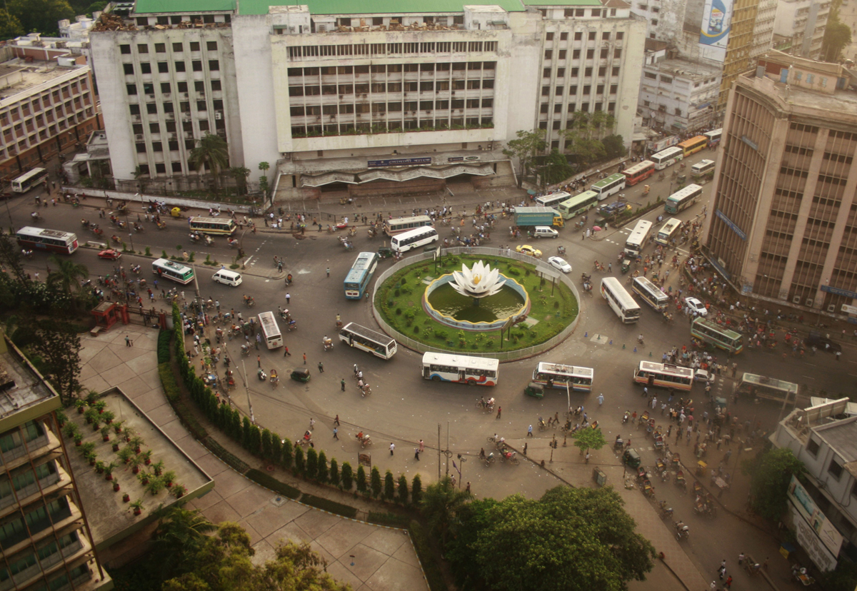 A view of Shapla Square in Dhaka's financial district, from an upper floor of Bangladesh Bank