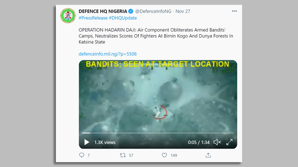 Tweet from the Nigerian military