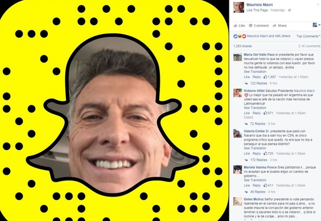 Maurico Macri on snapchat