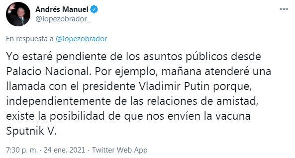 Un tuit de López Obrador