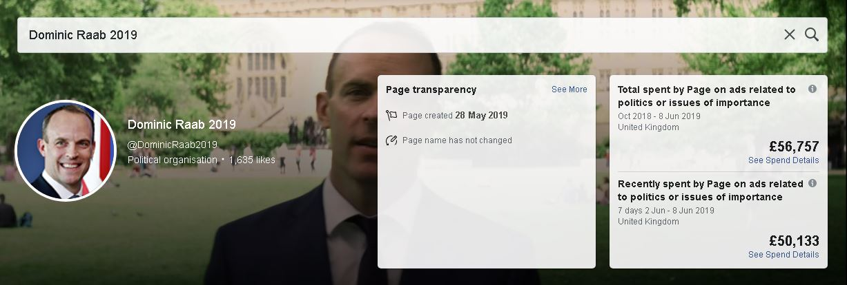 Ad showing Dominic Raab 2019 Facebook page and £56,000 in spending