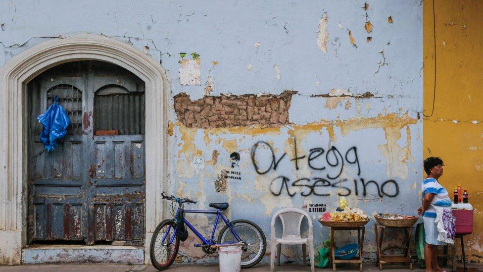 Grafiti contra Daniel Ortega