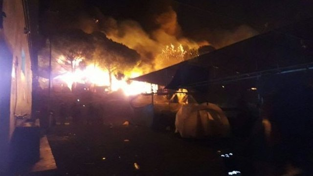Large flames engulfed tents and prefabricated buildings in Moria camp