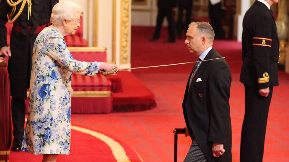 Sir Mark Sedwill, the National Security Adviser in the Cabinet Office, is made a Knight Commander of the Order of St Michael and St George, by the Queen Elizabeth at a Buckingham Palace an investiture ceremony on 1 June 2018